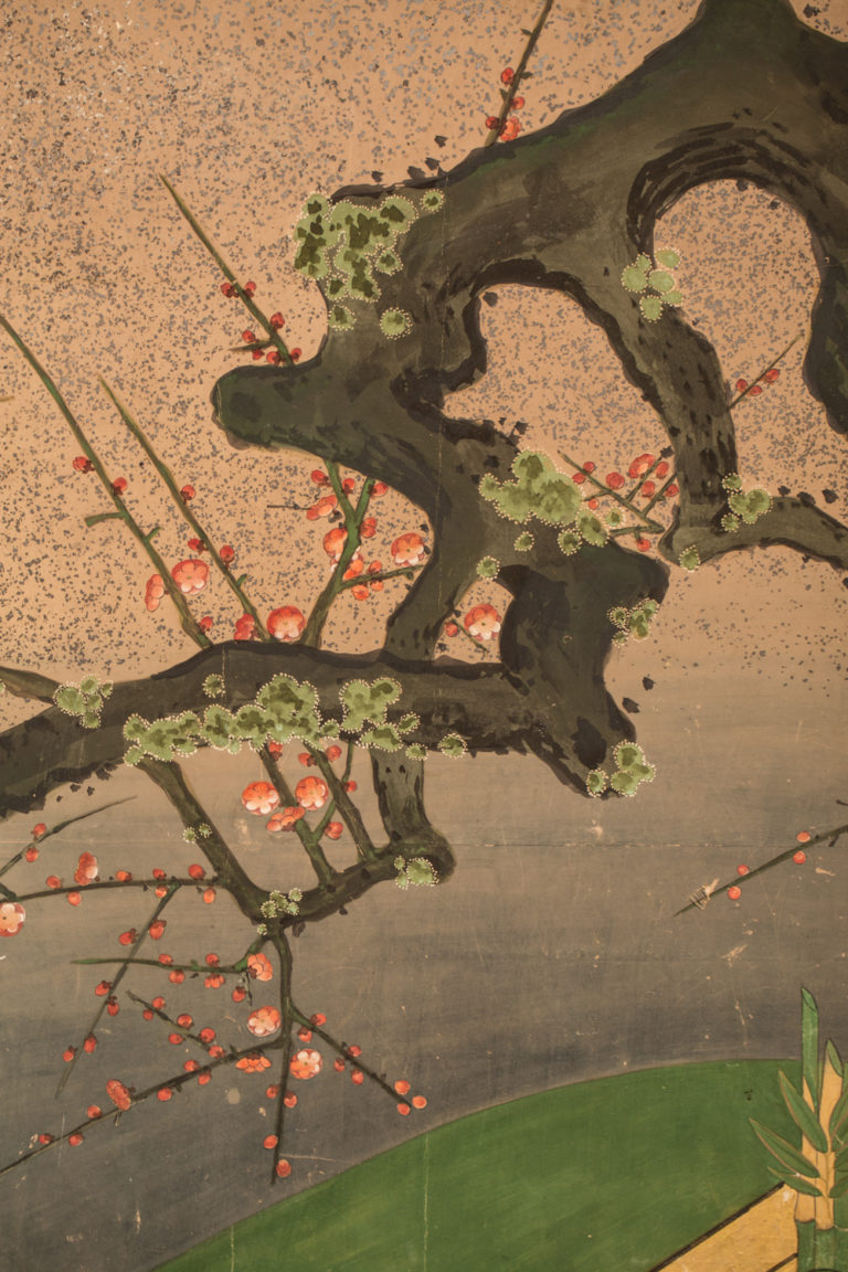 Japanese Six Panel Screen: Moon Over Plum With Doves and Woven Fence