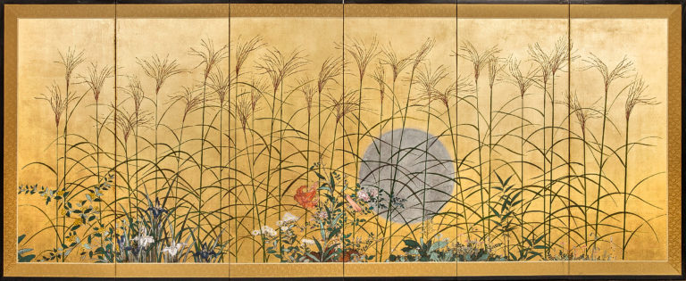 Japanese Six Panel Screen: Moon Over the Pains of Musashino