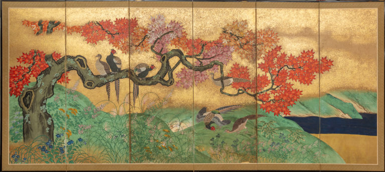 Japanese Six Panel Screen: Pheasants with Autumn Maple and Grasses
