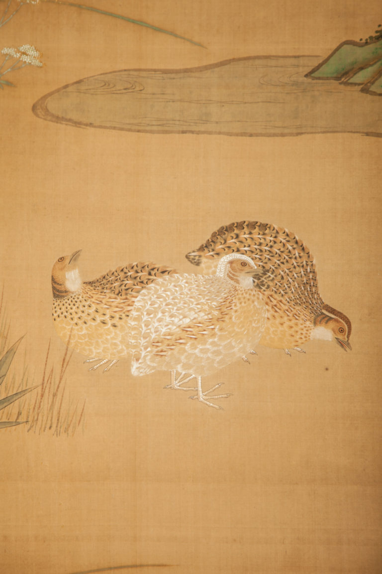 Japanese Six Panel Screen: Quails in a Gentle Landscape