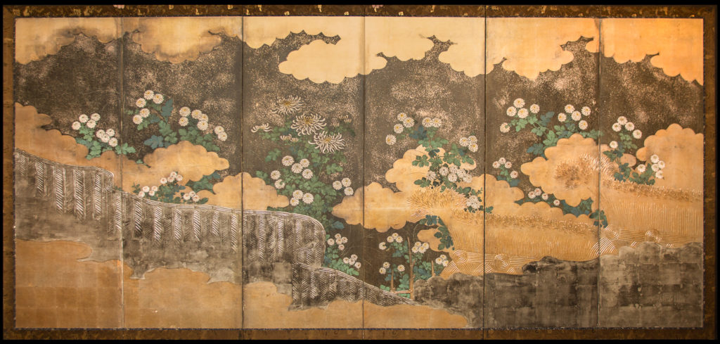Japanese Six Panel Screen: Rimpa School Chrysanthemums on Silver and Gold