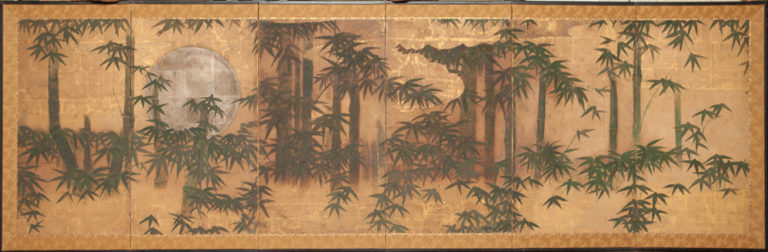 Japanese Six Panel Screen: Silver Moon and Bamboo on Gold