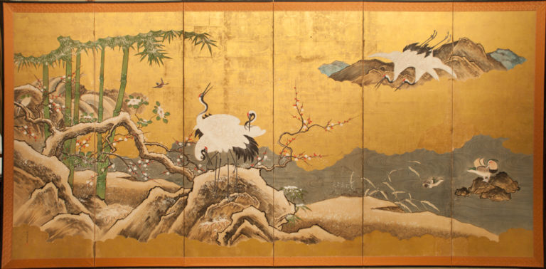 Japanese Six Panel Screen: Snow Scene at Water's Edge with Flowers and Waterfowl
