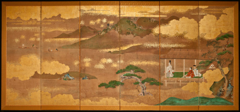Japanese Six Panel Screen: Tales of Genji, Lord Genji Gazing Out Over Lake Biwa