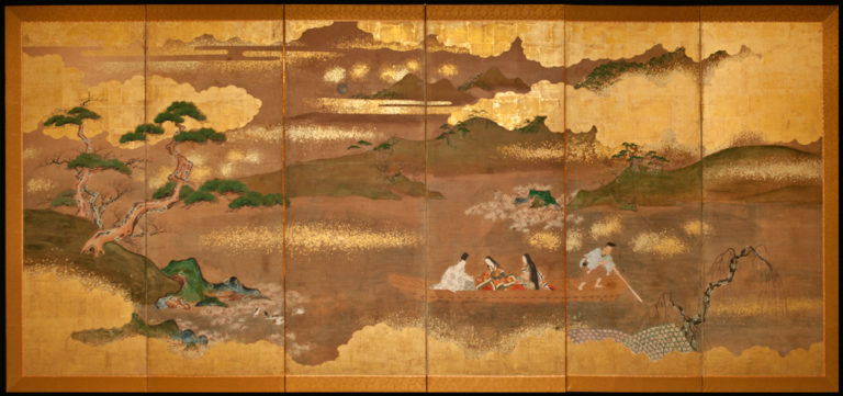 Japanese Six Panel Screen: Tales of Genji, Princess Murasaki on Lake Biwa