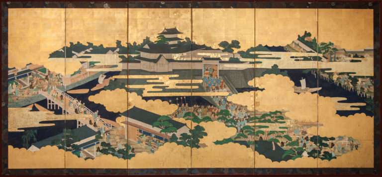 Japanese Six Panel Screen: Unusual Genre Scene Painting