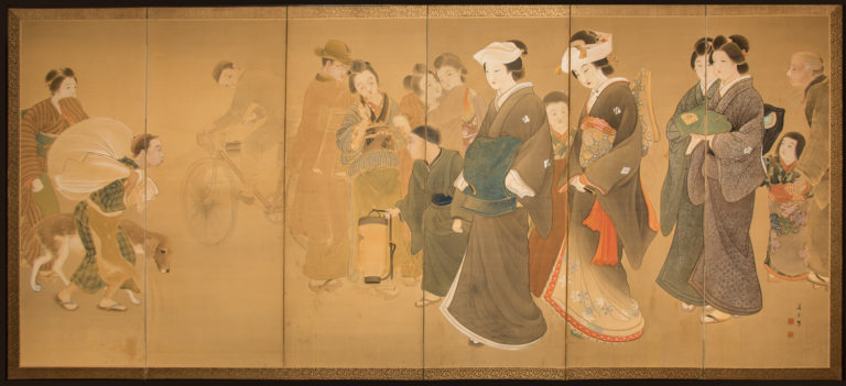 Japanese Six Panel Screen: Wedding Scene