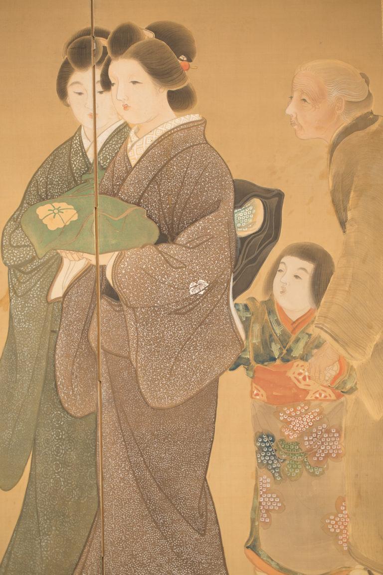 Japanese Six Panel Screen: Wedding Scene
