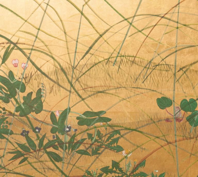 Japanese Six Panel Screen: Wild Grasses and Peonies by Rivers Edge