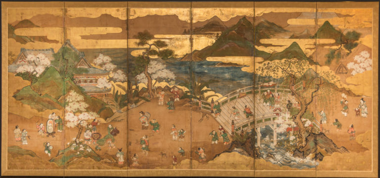 Japanese Six Panel Screen: Willow Bridge in Spring Landscape with Chinese Children