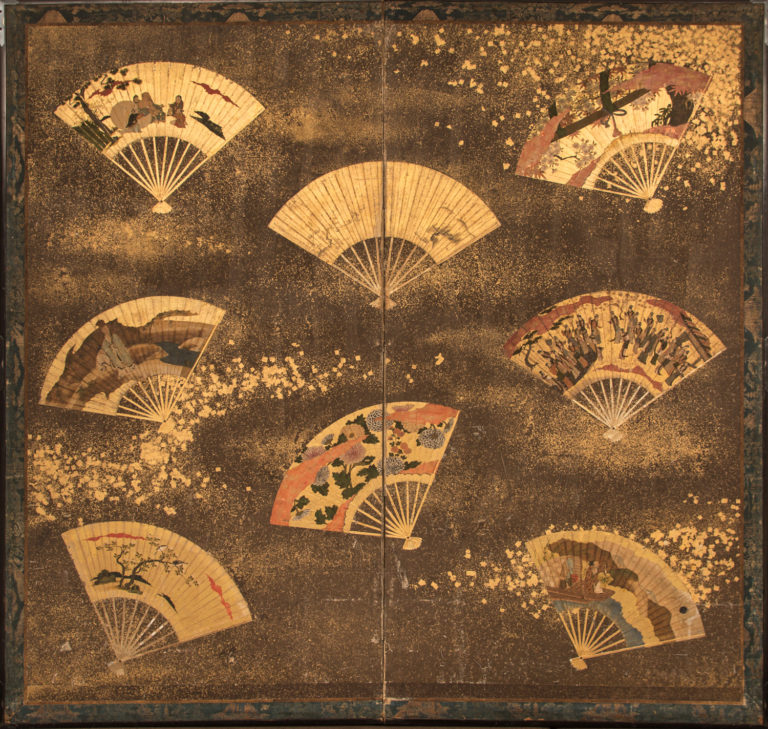 Japanese Two Panel Screen: Collection of Fans on Gold