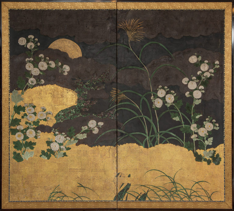 Japanese Two Panel Screen: Autumn Garden Scene Under Moon
