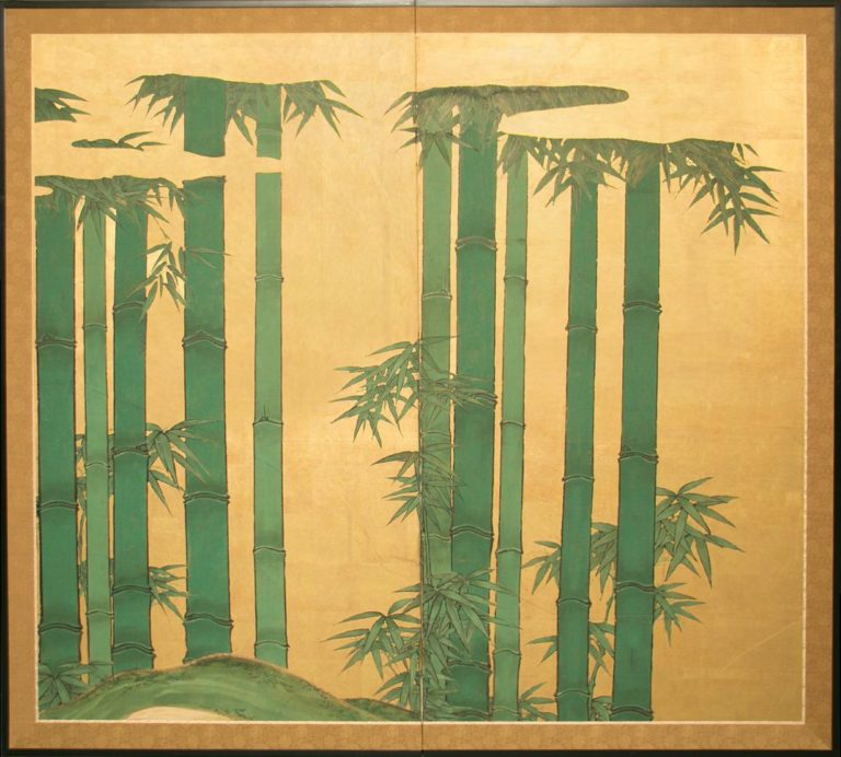 Japanese Two Panel Screen: Bamboo on Gold