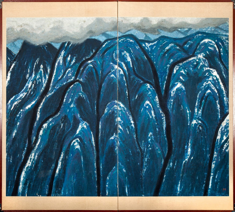 Japanese Two Panel Screen: Blue Mountain Landscape