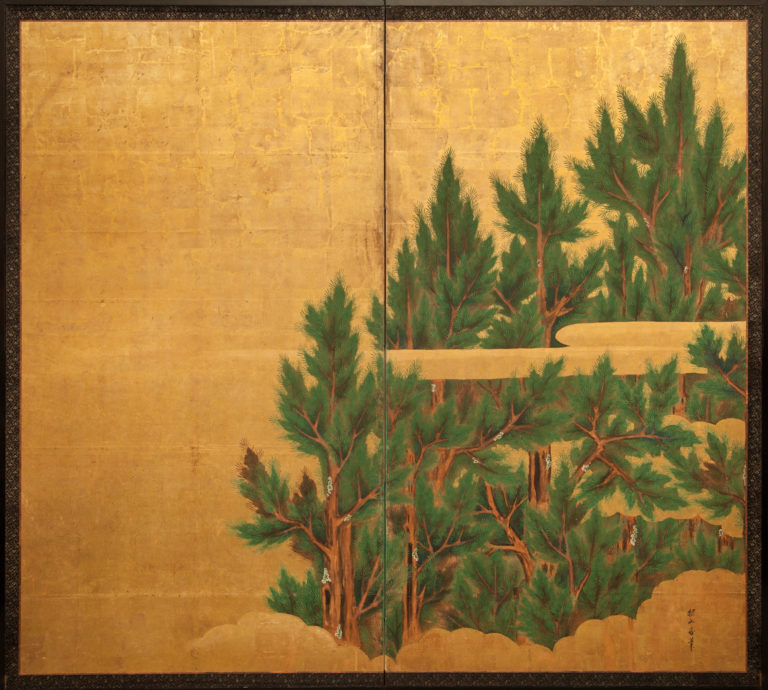 Japanese Two Panel Screen: Cedar on Gold with Stylized Clouds