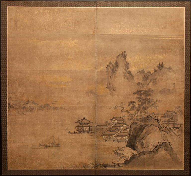 Japanese Two Panel Screen: Chinese Landscape
