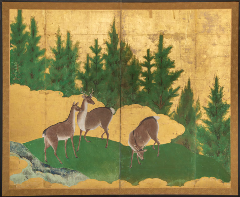 Japanese Two Panel Screen: Deer in a Cedar Landscape