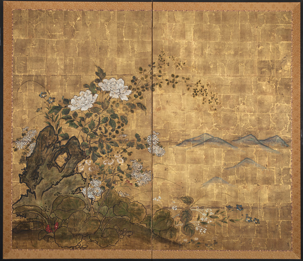 Japanese Two Panel Screen: Floral Garden on Gold