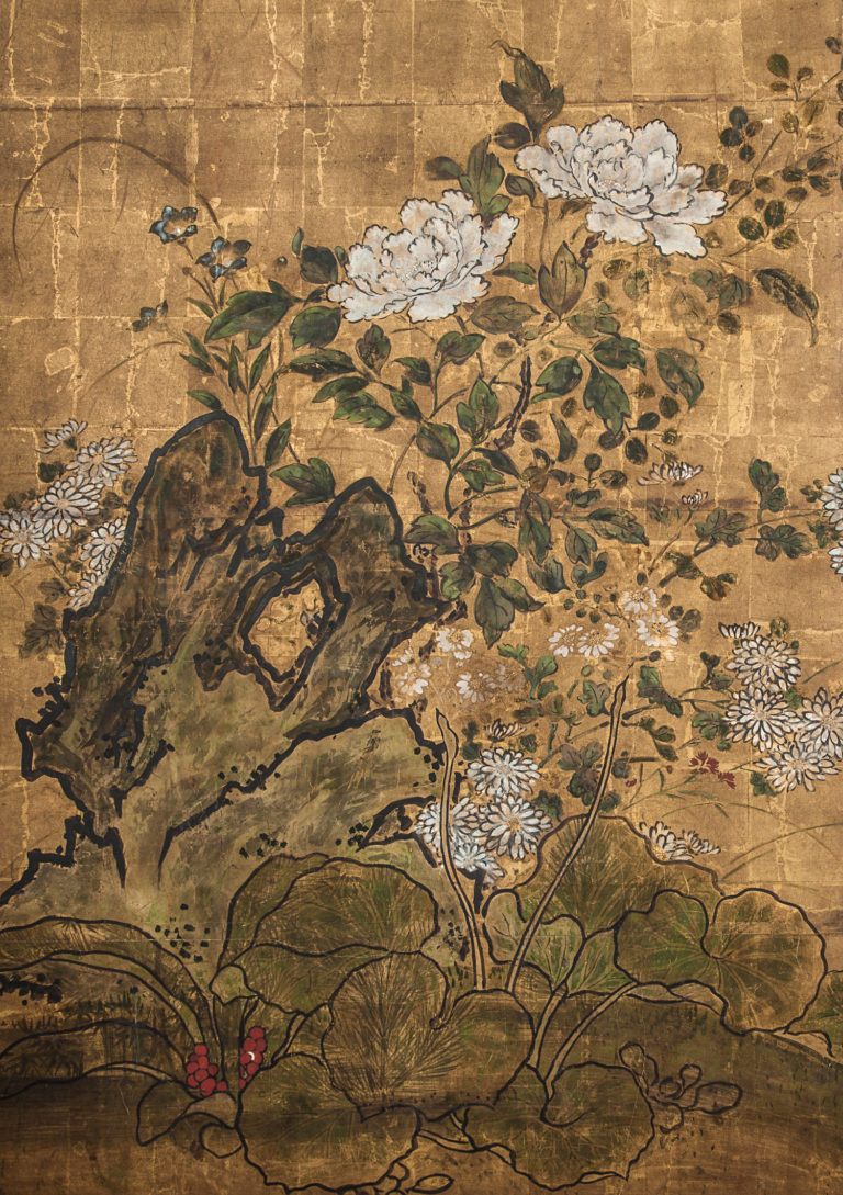 Japanese Two Panel Screen: Floral Garden on Gold,