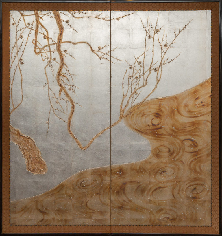 Japanese Two Panel Screen: Flowering Tree by Edge of a Stream