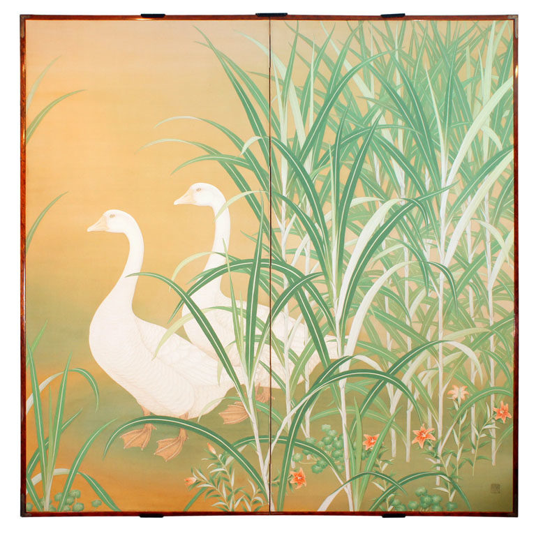Japanese Two Panel Screen: Geese