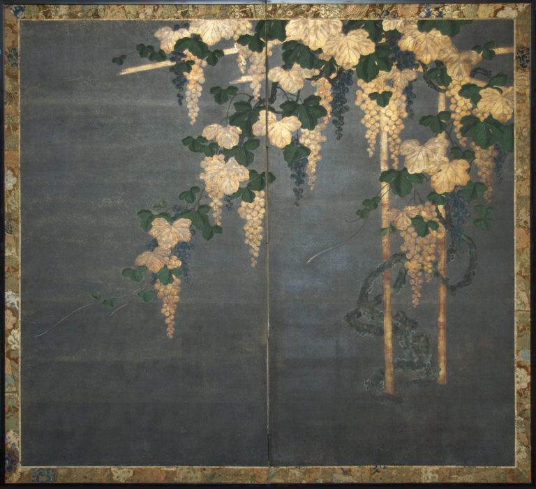Japanese Two Panel Screen: Moonlint Grape Vine and Arbor