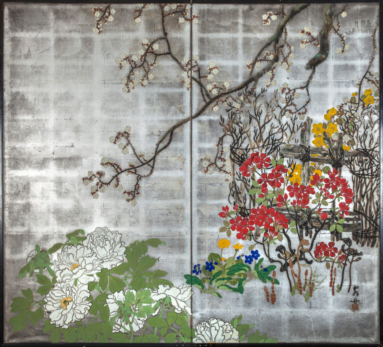 Japanese Two Panel Screen: Spring Flowers on Silver