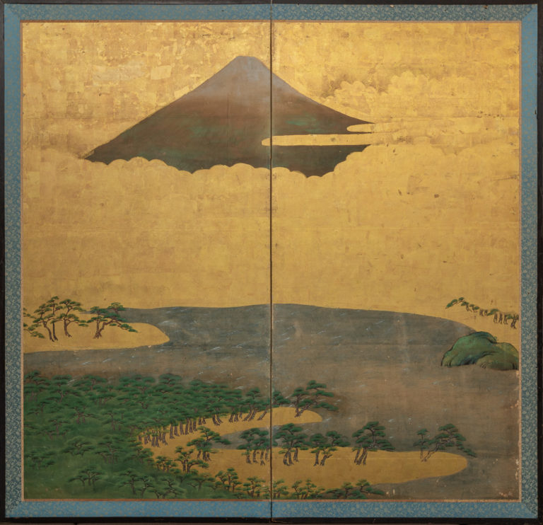 Japanese Two Panel Screen: View of Fuji-san