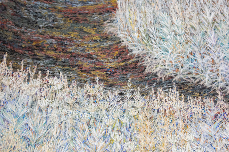 Japanese Two Panel Screen: Walking Trail Through Wild Grasses