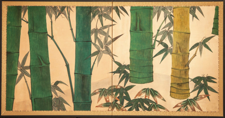 Japanese Two Panel Screen: Bamboo Grove on Mulberry Paper – A