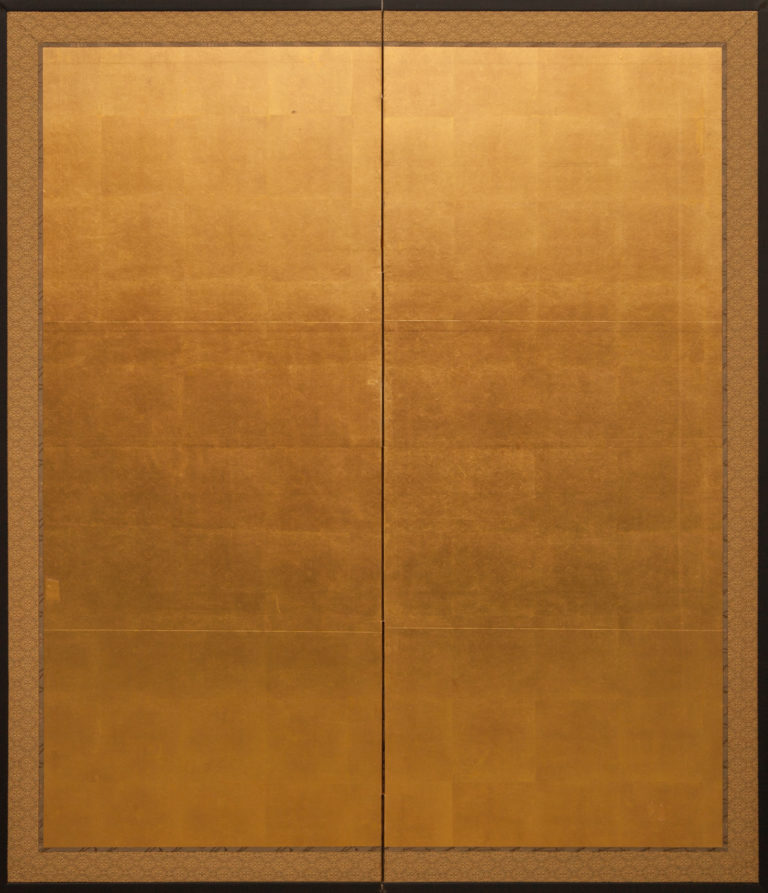 Japanese Two Panel Screen: Gold Leaf On Paper