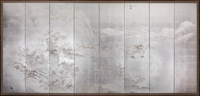 Japanese Eight Panel Screen: Modern Chinese School Coastal Mountain Landscape – A