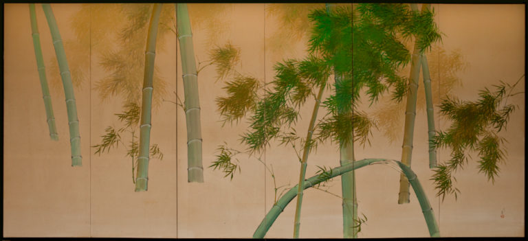 Japanese Six Panel Screen: Bamboo on Silk