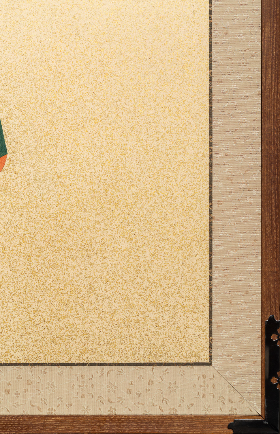 Japanese Two Panel Screen: Early 20th Century Kimono Fabric Mounted on Mid-20th Century Screen