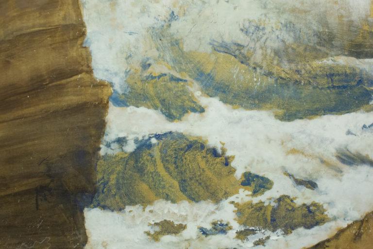 Japanese Six Panel Screen: Craggy Coastal Landscape