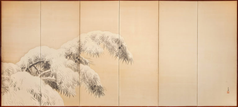 Japanese Six Panel Screen: Pine in Winter
