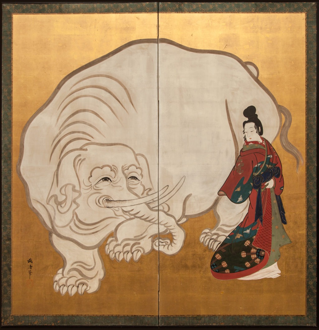 Japanese Two Panel Screen: White Elephant and a Beauty
