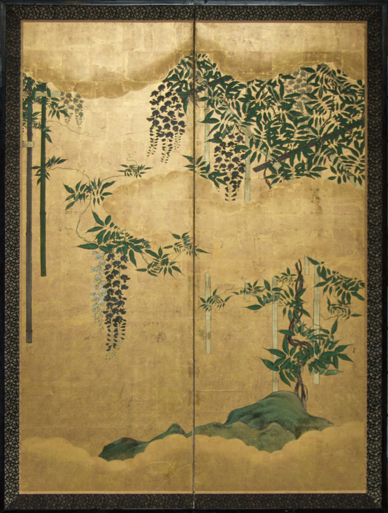 Japanese Two Panel Screen: Wisteria Vine On Bamboo Arbor on Quality Gold
