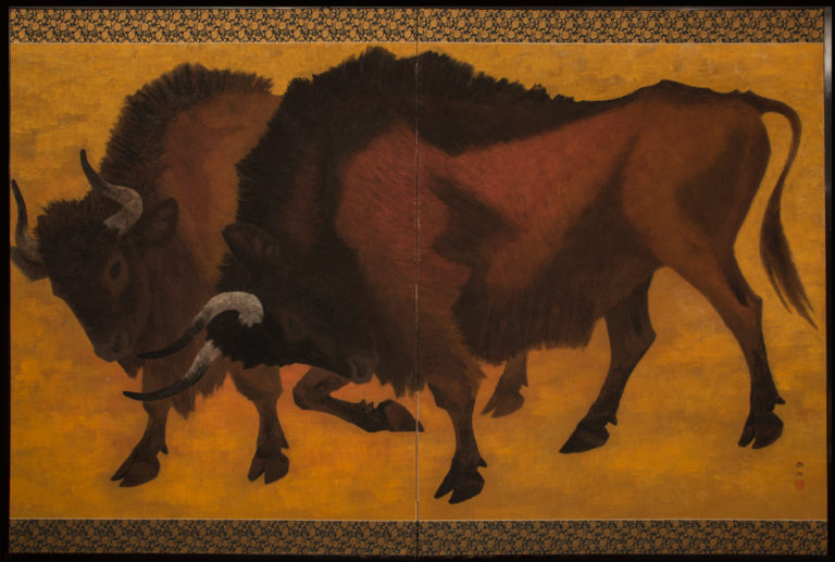 Japanese Two Panel Screen: Yagyu (Wild Ox)