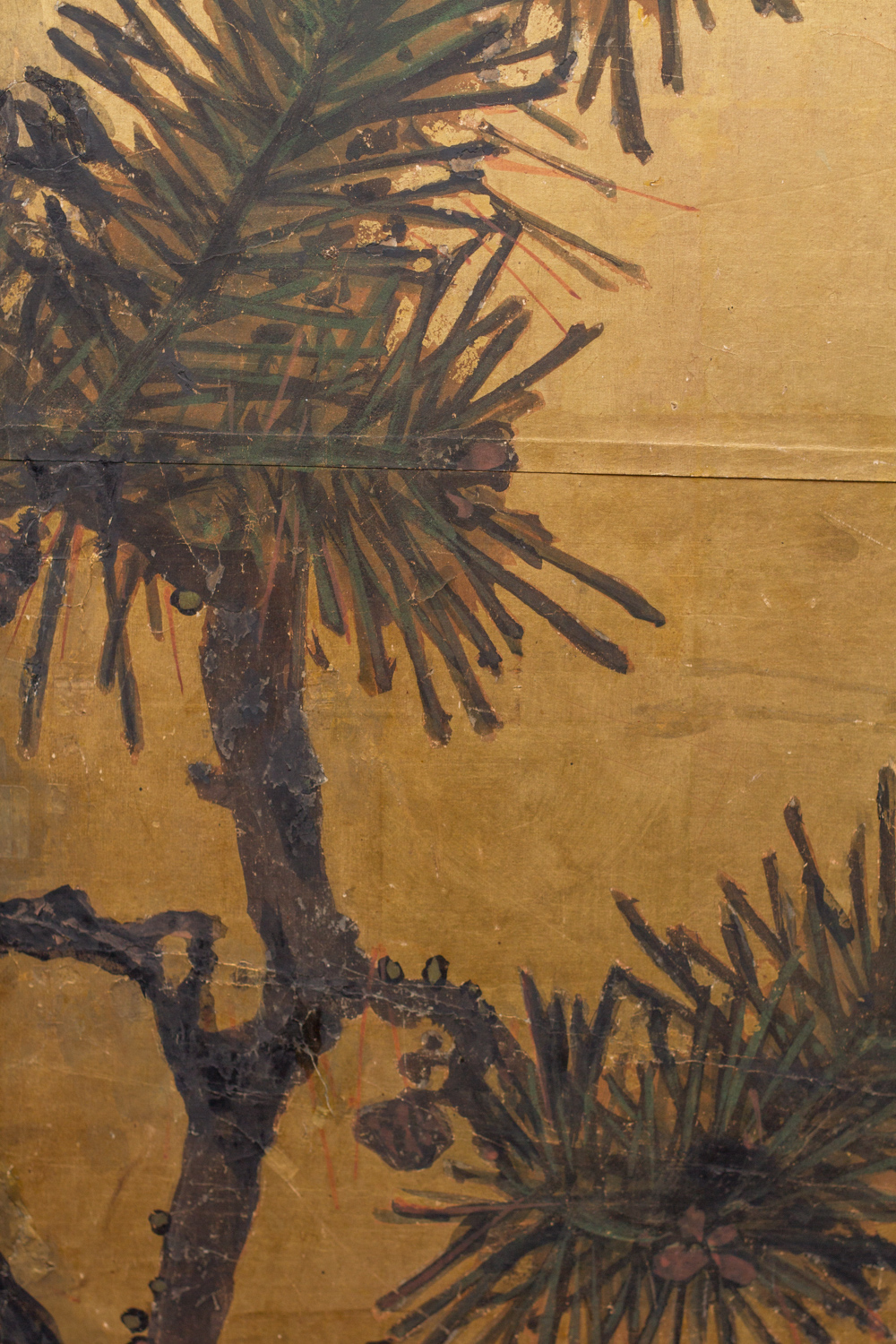 Japanese Two Panel Screen: Young Pine and Pine Cones on Gold
