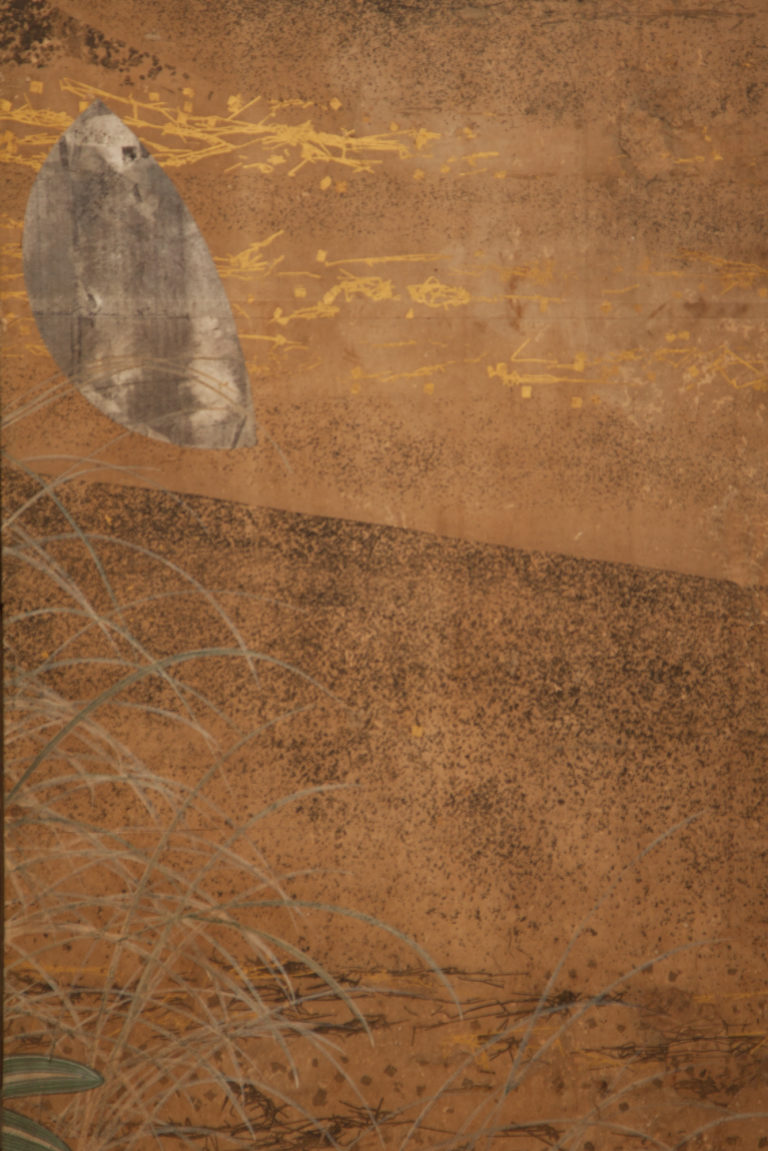 Japanese Four Panel Screen: Grasses and Young Bamboo Under Silver Moon