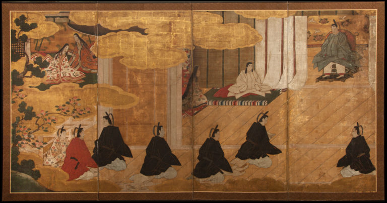 Japanese Four Panel Screen: Imperial Household