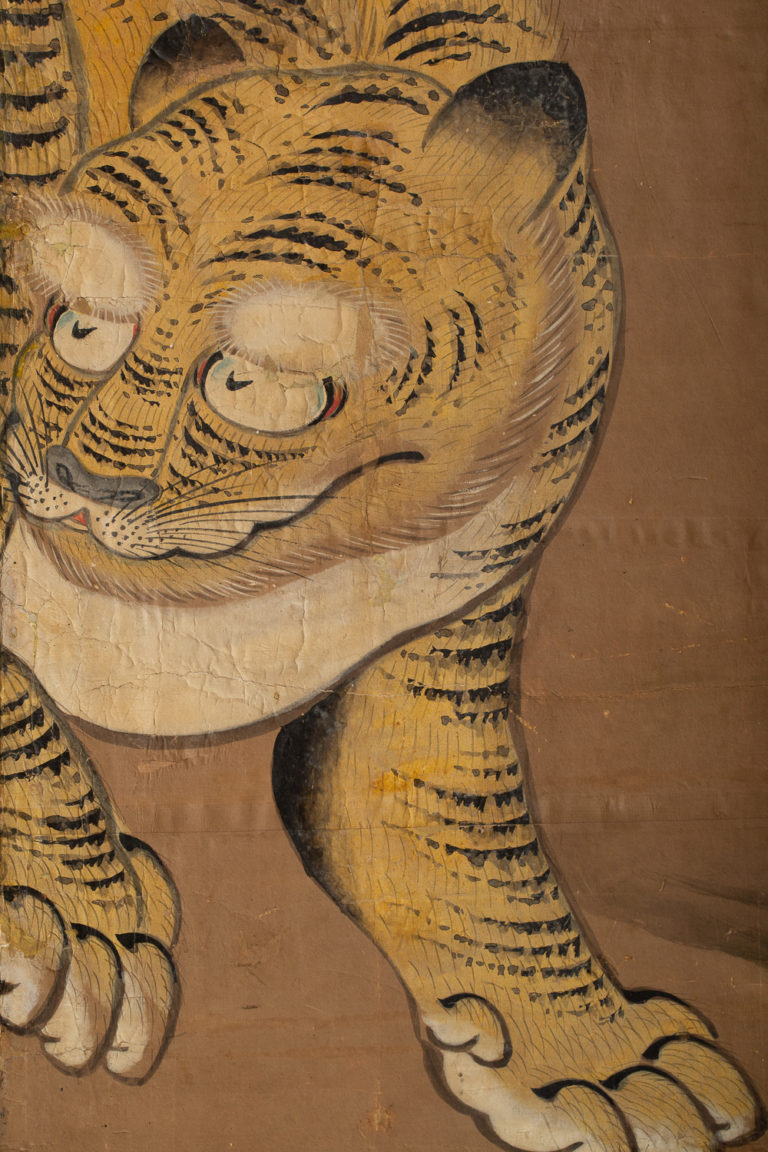 Japanese Four Panel Screen: Two Tigers Exchanging Amorous Glances