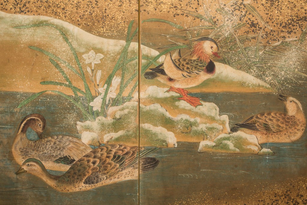Japanese Six Panel Screen: Audobon Landscape with Maple and Pine
