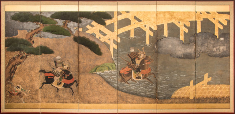Japanese Six Panel Screen: Battle of Uji Bridge