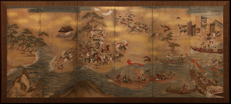 Japanese Six Panel Screen: Battle of Yashima from the Heike Monogatari