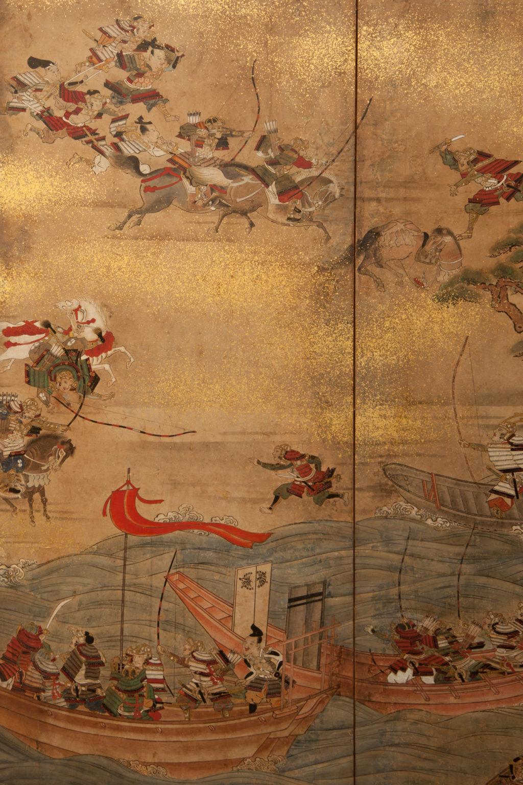 Japanese Six Panel Screen: Battle of Yashima from the Heike Monogatari