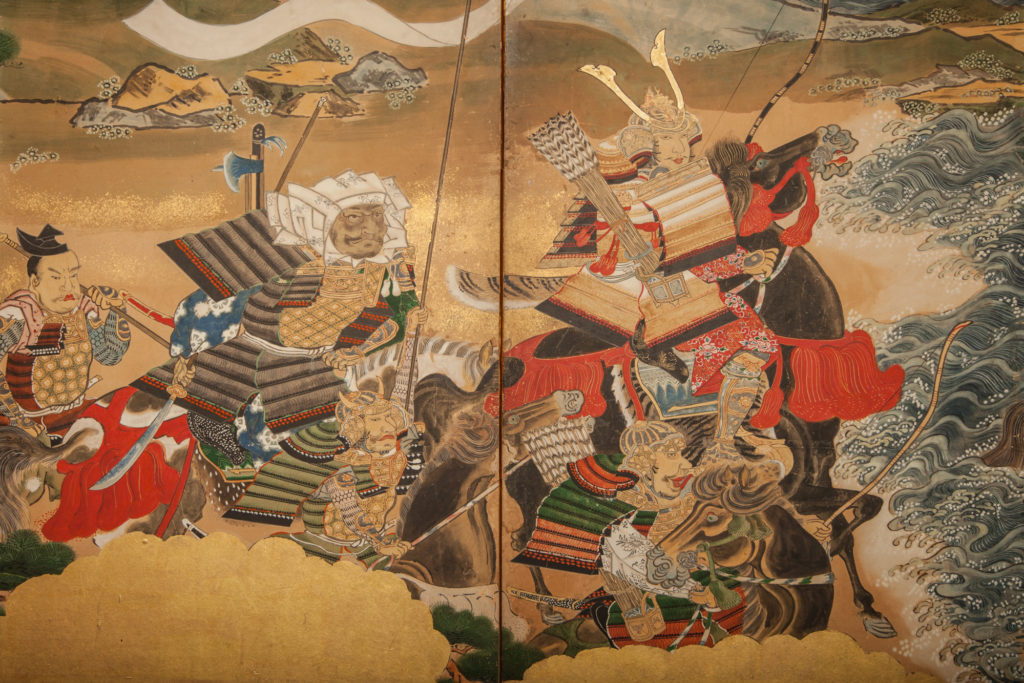 Japanese Six Panel Screen: Battle of Yashima from the Tales of Heike