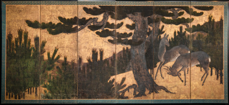 Japanese Six Panel Screen: Buck and Doe in Pine Forest