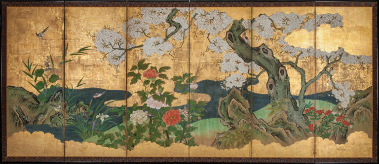 Japanese Six Panel Screen: Cherry in Bloom in Flowering Spring